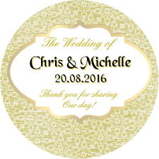 24  PERSONALISED, WEDDING FAVOUR STICKERS,  CHAMPAGNE GOLD GLOSS FINISH (GC2)