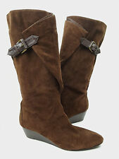 Nine West boots 7.5 M brown suede knee-high fold detail wedge heels Your So Cute