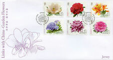 Jersey 2015 FDC Garden Flowers Links China 6v Set Cover Magnolia Camellia Stamps