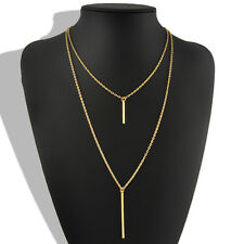 Double Layer Bohemian Gold Long Chain Vertical Drop Bar Pendant Sexy Necklace