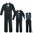 New Infant, Toddler & Boy Formal Black Tuxedo Suit S,M,L,XL,2T,3T,4T 5 6 7 8-20