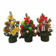 Mini Christmas Tree Ornaments Xmas Holiday Party Home Office Table Decor Gift