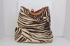 100% Authentic Salvatore Ferragamo Brown Zebra Stripe Woven Tote Wood Handle!