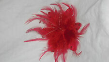 NEW RED FEATHER FASCINATOR HAIR CLIP, CORSAGE or BROOCH