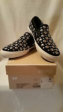 Michael Kors Boerum Slip On Studded Sneakers Shoes Womens 7.5 Black White