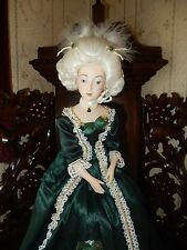 """GREEN SATIN & LACE MARIE ANTOINETTE FRANKLIN MINT 20"""" PORCELAIN DOLL VERY NICE"""