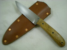 "Jeff C. Morgan, Custom 1095HC Steel ""Field Point"" Knife, Birdseye Maple, USA"