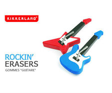 Kikkerland Rockin Guitar Shaped Erasers Set of 2 one Blue/one Red eraser ER12