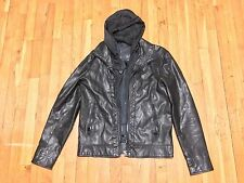 ZARA MAN FAUX LEATHER JACKET WITH DETACHABLE HOOD BLACK SLIM FIT M