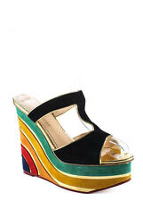 NEW CHARLOTTE OLYMPIA Multicolored Suede Rainbow Wedges Sz 35 5 $1225