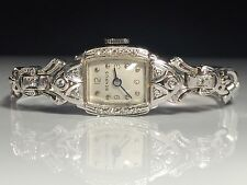 14K White Gold Diamond Benrus Watch Antique Art Deco 1930s~.30ctw