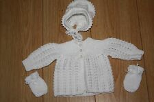 newborn girls white cardigan set, hat and mittens 100% wool hand knitted