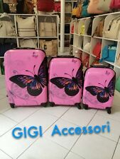 VALIGIE 3 SET TROLLEY GRANDE MEDIA PICCOLA 4 RUOTE AUTONOME IN ABS FARFALLA ROSA