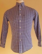 BROOKS Brothers SMALL Shirt SLIM Fit GINGHAM Checked BLUE White COTTON Mens LOGO