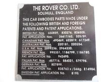 Typenschild Schild Landrover s20 land Rover Range Patents