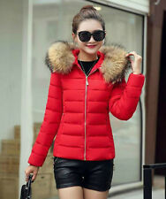 Winter Women's Down Cotton Parka Short Fur Collar Hooded Coat Quilted Jacket