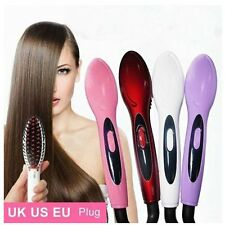Red Electric Hair Straightener Comb Iron Brush Auto Hair Massager Tools