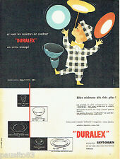 PUBLICITE ADVERTISING 106  1958  Duralex Saint-Gobain  par Camps assiettes verre