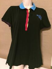 Le Coq Sportif Womens Polo Black and Colorful Shirt Top Size XL Vintage