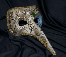 Para Hombre Nariz Larga Máscara De Halloween Veneciano Mardi Gras Vintage Marfil Oro
