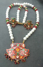 Gold Plated Red Green Gold Meenakari Pendant & Earring Set with Pearl necklace