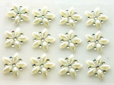 12 PEARL & AB CRYSTAL SELF ADHESIVE FLOWERS approx size 2.5cm dia