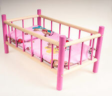 NEW LARGE WOODEN COT,BED,CRIB DOLLS TOY SALE 30% OFF