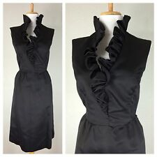 Vintage 1950s Black Cocktail Party Dress Ruffled Neckline Sateen M