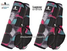 Classic Equine GREY CHEVRON LEGACY SYSTEM Front Hind Rear Value 4 Pack M Boots