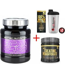 BCAA 6400 375 CPR SCITEC + proteine 100% WHEY PROFESSIONAL 30 G +CREATINA+SHAKER