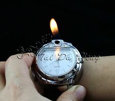 Unique Men's Butane  Cigarette/Cigar Lighter Refillable White Wrist Watch
