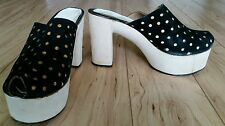 Authentic 70's Vintage High Platform Suede Clogs Shoes Women's Sz 7 Mod Disco!!