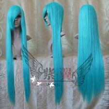 New Turquoise Blue 100cm Long Straight Anime party Cosplay Full Wig