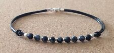 SNOWFLAKE OBSIDIAN 4mm Beads, Leather Cord, Silver Plated, Friendship Bracelet