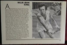AUTOGRAPHED B&W PHOTO & MAGAZINE ARTICLE  TENNIS  TENNIS PRO .BILLIE JEAN KING