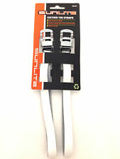 SUNLITE BICYCLE BIKE TOE CLIP STRAPS LEATHER WHITE NEW