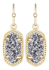 Kendra Scott Dainty Lee Drop Earrings in Platinum Drusy & Gold