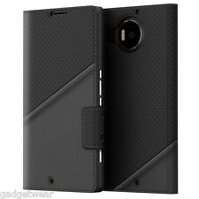 Mozo Thin Flip Folio Genuine Leather Case for Microsoft Lumia 950 XL -Black Golf