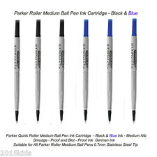 6 Parker Roller Ball Rollerball Pen Refill Medium Nib 3 Black+3 Blue Ink US Sell