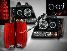 2007-2012 CHEVY TAHOE SUBURBAN CCFL PROJECTOR HEADLIGHTS+LED TAIL LIGHTS G5 RED