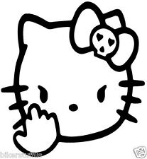 HELLO KITTY WITH MIDDLE FINGER BUMPER STICKER