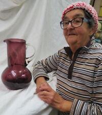 """fabulous hand blown studio art glass / purple pitcher 11"""" high bulbous pontil mk"""