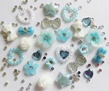 "24 x 3D Nail Art ""Baby Blue & White"" Flowers,Bows,Pearl,Rhinestone Hearts Craft"