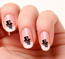 20 Nail Art Decals Transfers Stickers #286 -  Skull with top hat