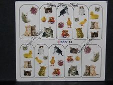 Water Decals - Cats Kittens Ducklings Animals  DIY Nail Stickers - BOP-113 - UK