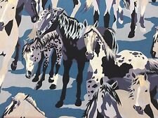 Sunset Herd Horses Western OOP Alexander Henry Cotton Fabric Per Yard BLUE Black
