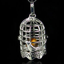 silver plated brass locket bird cage pendant ring bell no beads inside 23#