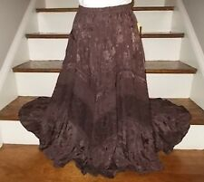 Coldwater Creek Brown Tiered Boho Full Long Lined Skirt-Size P X Small NEW-89.50
