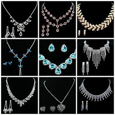 Wholesale Lot Of 5 Necklace Earrings Sets Rhinestone Crystal FREE SHIPPING