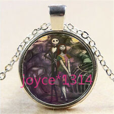 Nightmare Before Christmas Cabochon silver Glass Chain Pendant Necklace #3041